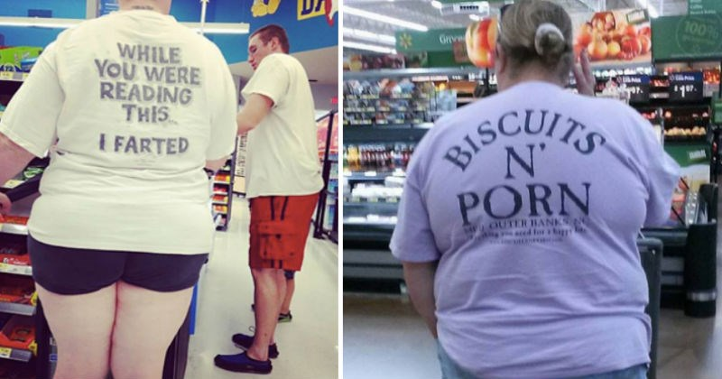 people with cringeworthy shirts in walmart - cover image to a list of crazy walmart people