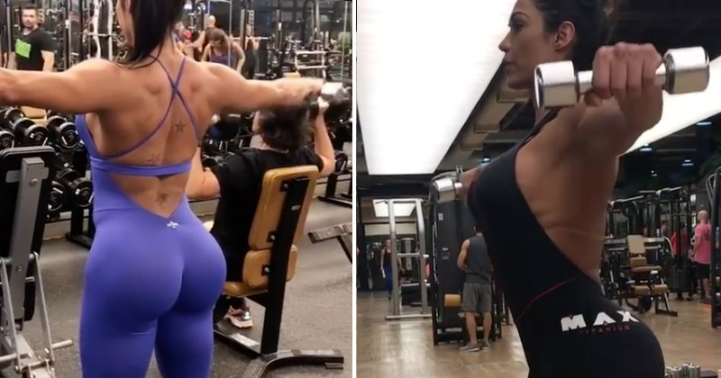 instagram model Gracyanne Barbosa gets called out for using fake weights.