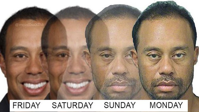 Collection of memes involving Tiger Woods' DUI mugshot.