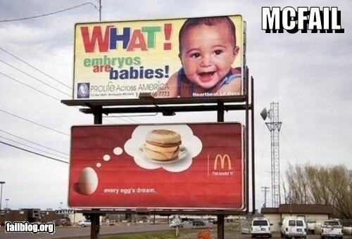 Babies,billboard,classic,eggs,failboat,juxtaposition,McDonald's,signs