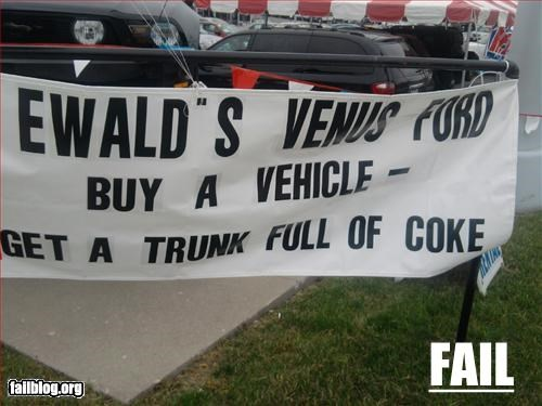 ads,cars,coke,drugs,failboat,sale,signs,trunks