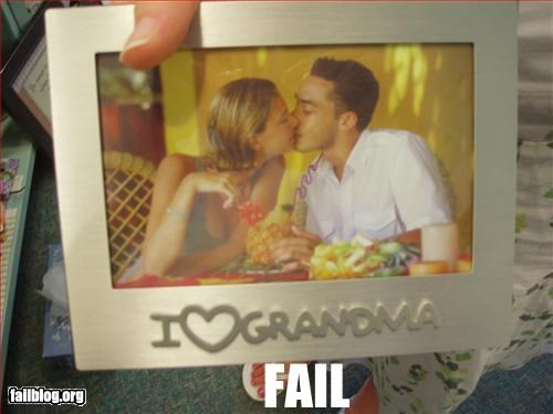 eww failboat family grandma kissing picture frame