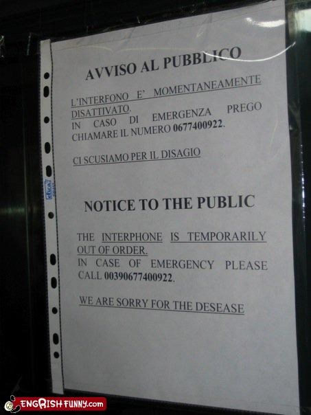 disease,emergency,g rated,Italy,notice,out of order,public,signs,sorry