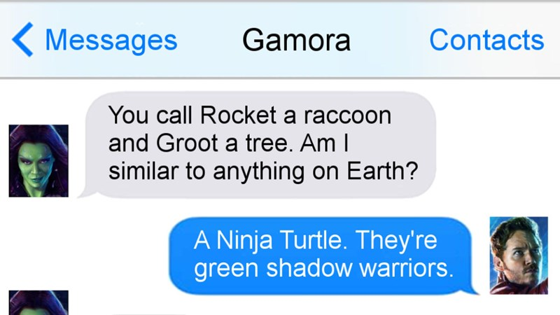 Funny comedic text exchanges imagining texting between popular superheroes from Guardians of the Galaxy, The Avengers, Batman, Superman, X-Men, including Gamora, Starlord, Rocket, Wolverine, Cyclops, Black Widow, Wonder Woman.