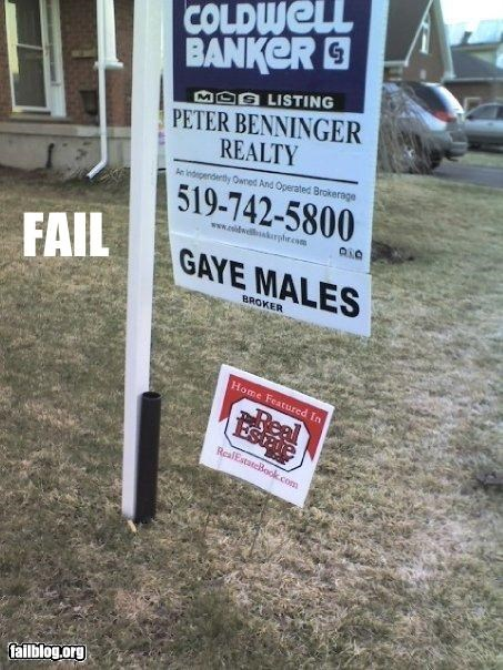 gay g rated male names real estate signs - 2375832832
