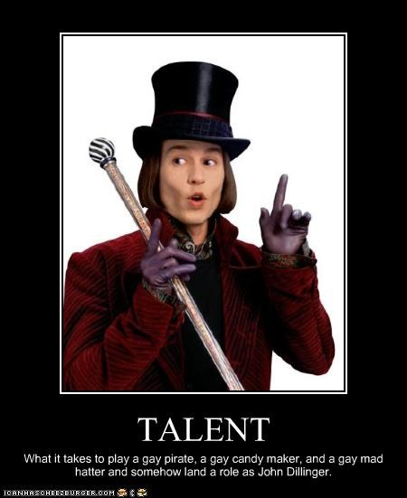 alice in wonderland captain jack sparrow gay Johnny Depp movies Pirates of the Caribbean the ghey The Mad Hatter tough guy Willy Wonka - 2377104640