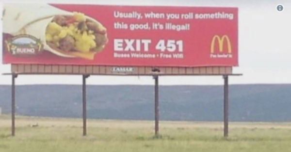 McDonald's billboard makes funny accidental weed joke.