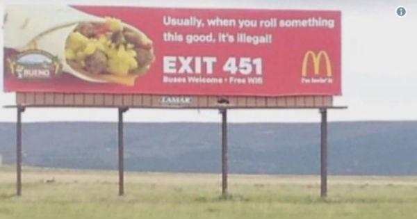 McDonald's billboard makes funny accidental weed joke.