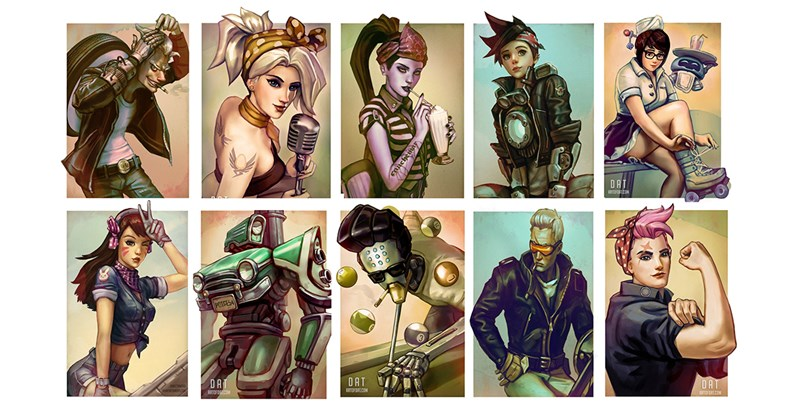 Collection of fan art from Art of Dat - characters from the video game Overwatch, drawn in a way that makes them look like part of the Rockabilly subculture.