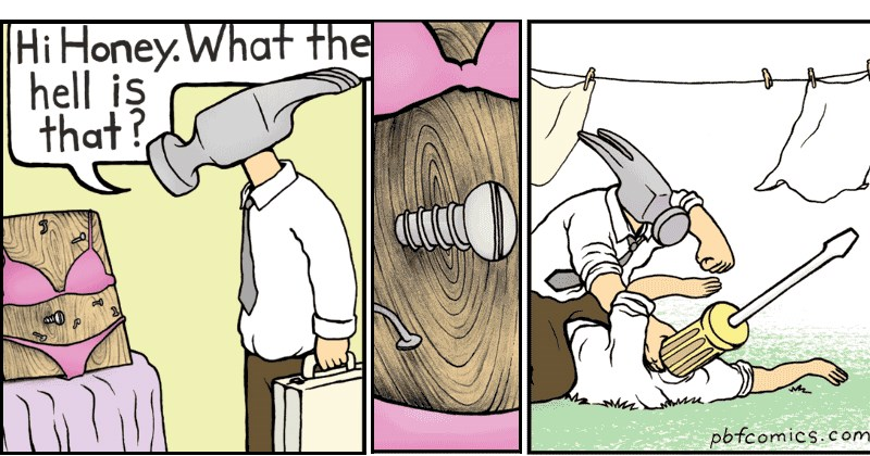 funny comics from pbf comics where a hammer finds a screw in his wife