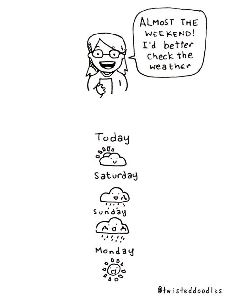 Funny doodles with a surprising ending - cover cartoon about it raining all weekend till Monday.
