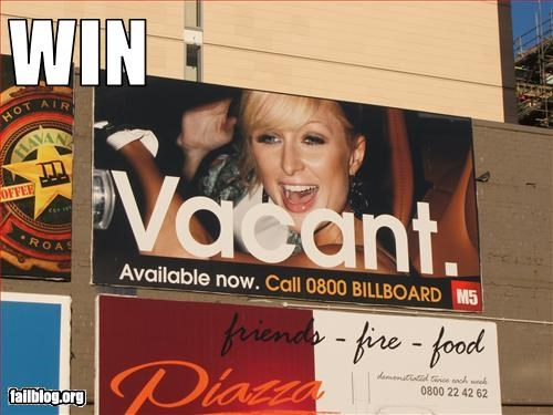 ads,celeb,failboat,g rated,paris hilton,sign,truth,vacant,win