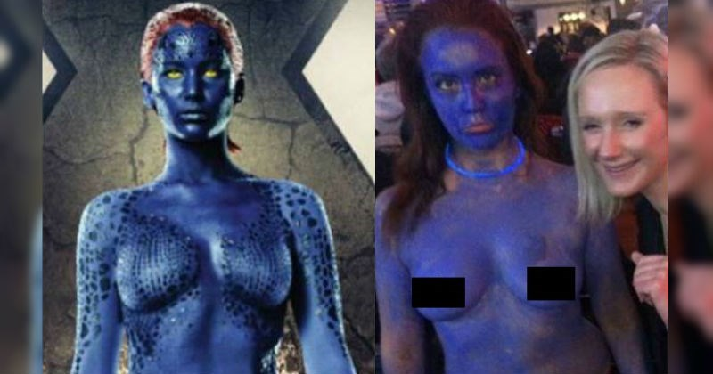 girl tries to dress up as mystique from xmen and totally nails it