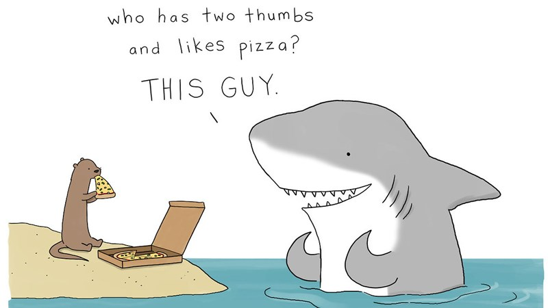 Funny cute and adorable web comics and cartoons involving animals, snakes, sharks, fish, pizza, kangaroos, porcupines, all by Liz Climo.
