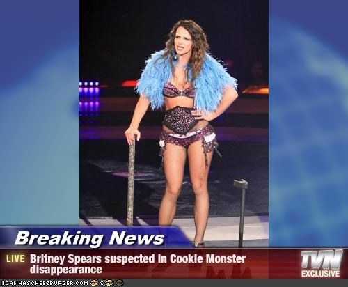 singers britney spears concert Cookie Monster costume muppets Music - 2407850240