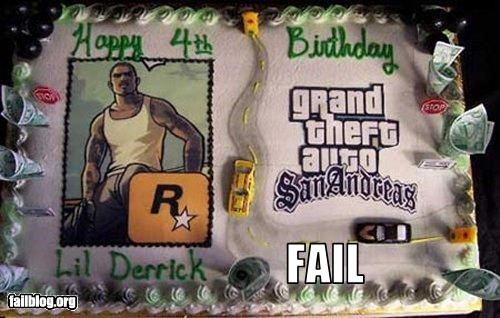 cakes,failboat,g rated,Grand Theft Auto,happy birthday,inappropriate,parenting,video games