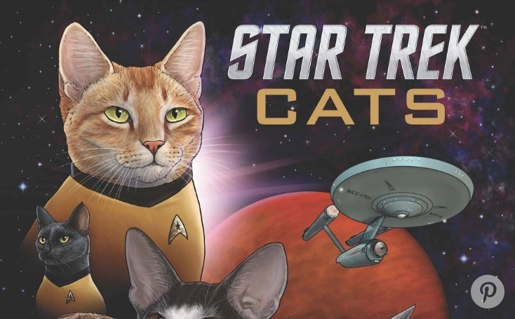 A cartoon book of cats recreating the star trek - a story