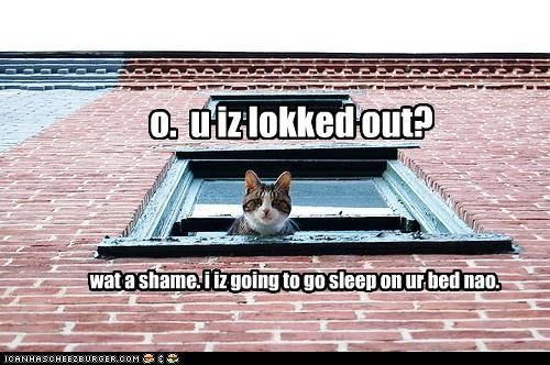 o. u iz lokked out? wat a shame. i iz going to go sleep on ur bed nao.