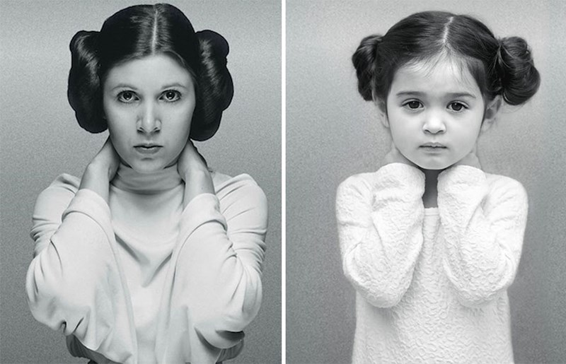 little girl dresses up as iconic women