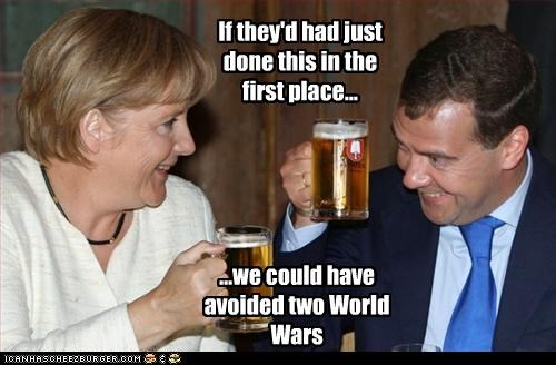 angela merkel,beer,Dmitry Medvedev,drunk,peace,war