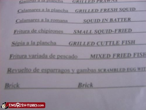 brick,g rated,menu,restaurant,squid