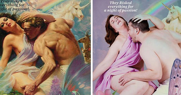 Funny couple recreates steamy romance novel covers and the results are hilarious.
