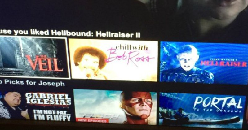 Netflix recommends a bob ross show after user watches Hellraiser II