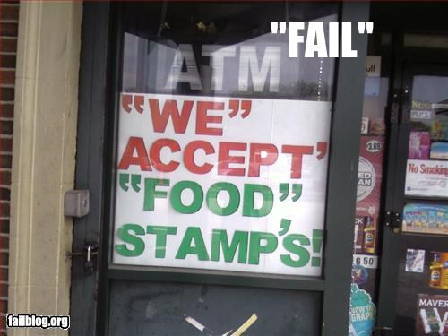 failboat food stamps g rated Quotation Marks shop sign signs what