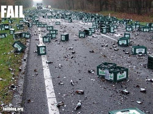 alcohol,beer,classic,failboat,road,spilled