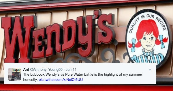 Wendy's is in an epic banter sign war with a Pure Water company.