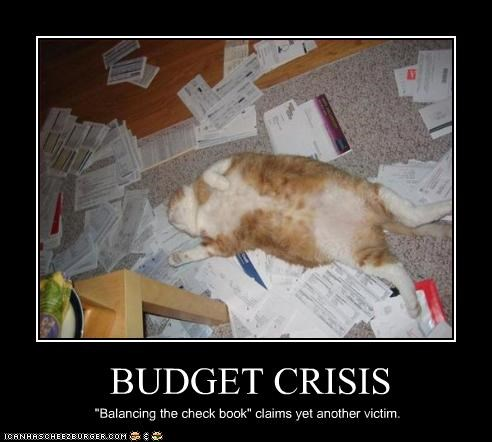 "BUDGET CRISIS ""Balancing the check book"" claims yet another victim."