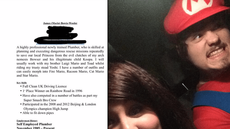 Guy accidentally sends Super Mario-inspired CV to his potential employers by accident.