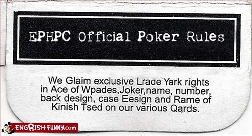 cards g rated official poker rules
