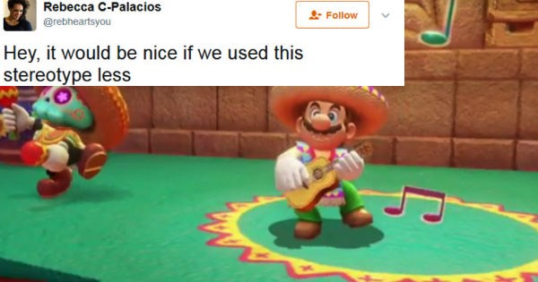 People on Twitter react to person's complaint about the Mario game being racist to Spanish-speaking people.