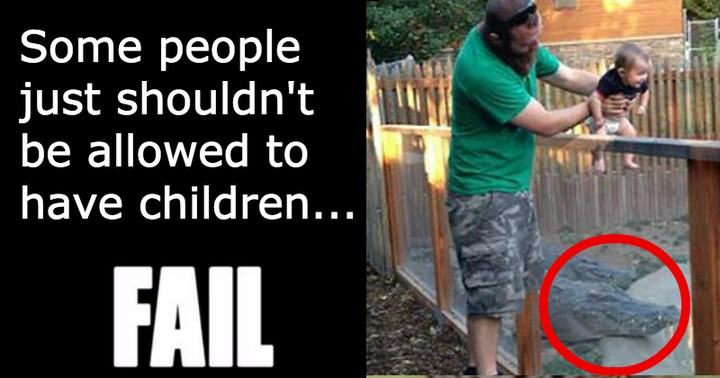 guy holds his child over an alligator enclosure - cover image to a list of parenting fails