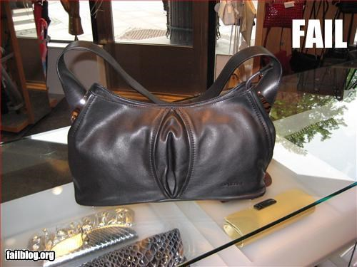 Purse Fail Working in a purse shop, I have a few good sales aguments, but how to sell this one, I have no idea!