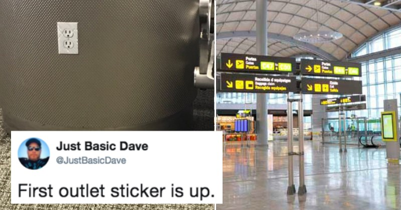 Guy live-tweets the funny video results of people's reactions to airpot power outlet prank.