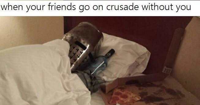 Funny collection of memes about knights and the crusades.