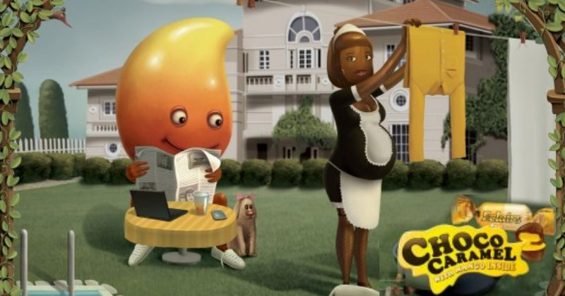 inappropriate marketing for a caramel chocolate with a pregnant 'chocolate' maid and a caramel