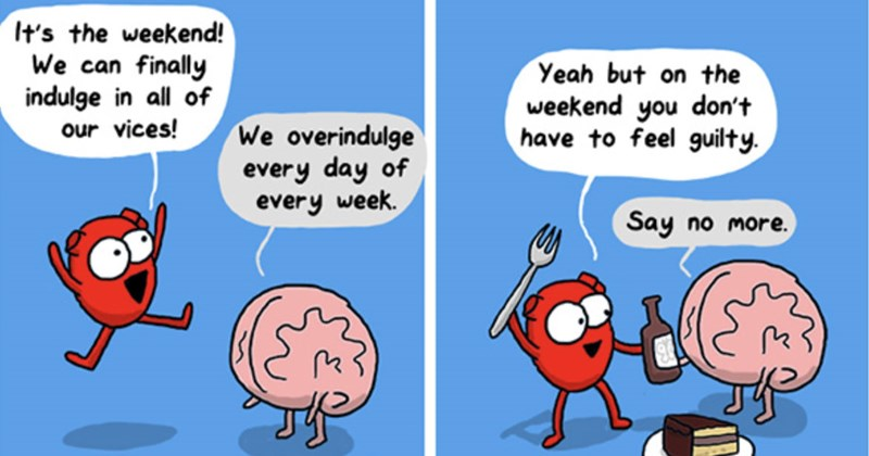 Collection of funny web comics from The Awkward Yeti featuring Heart and Brain.