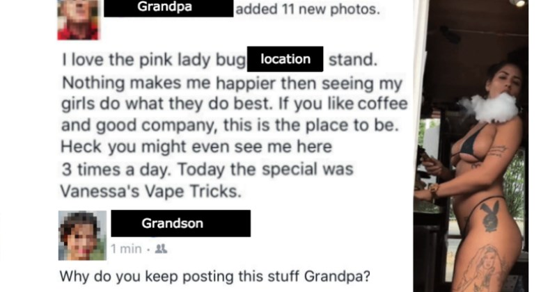 Pervy Old Man Posts *NSFW* Pictures of a Bikini Barista to Facebook and Gets Roasted By His Grandson