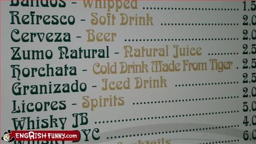 beer,drink,g rated,juice,menu,restaurant,tiger