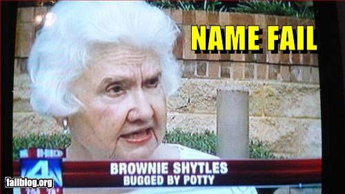 brownie,bugs,g rated,name,news,porta potty