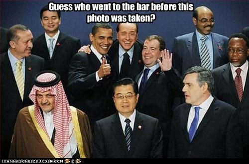 bar,barack obama,Dmitry Medvedev,drunk,gordon brown,Hu Jintao,president,prime minister,silvio berlusconi