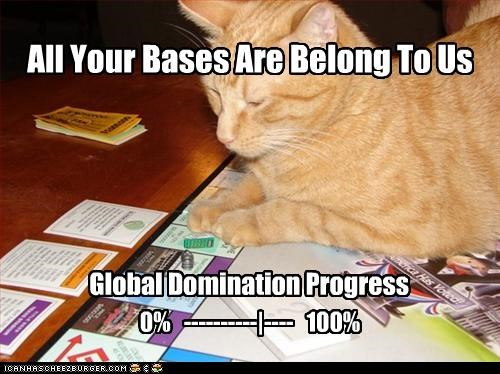 All Your Bases Are Belong To Us Global Domination Progress 0% ----------|---- 100%