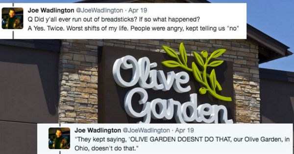 Guy live-tweets his terrible, cringe-inducing date with an Olive Garden manager.