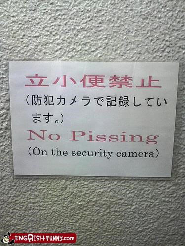 camera pee security signs warning