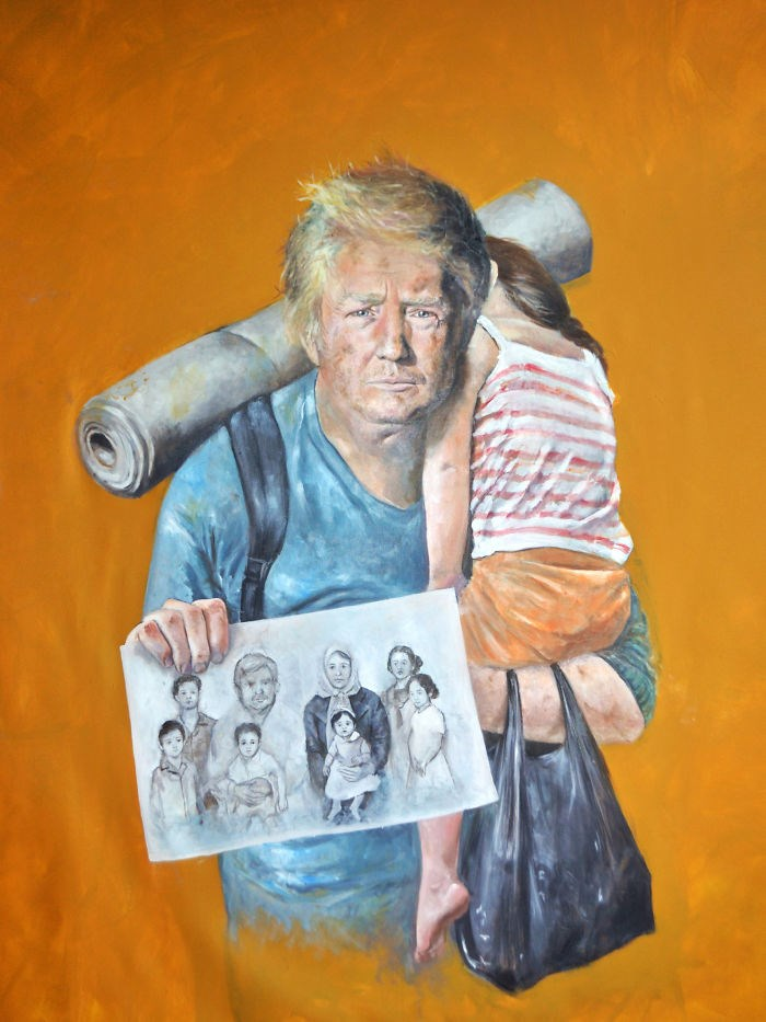 Syrian artist turns powerful world leaders to war refugees