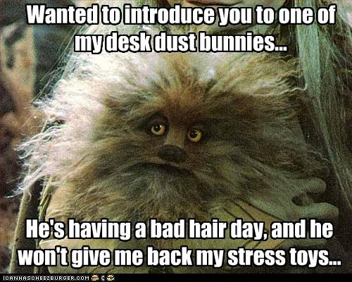 Wanted to introduce you to one of my desk dust bunnies... He's having a bad hair day, and he won't give me back my stress toys...