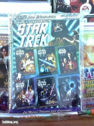 Star Trek Fail Star Wars Dvds titled as Star Trek lolz